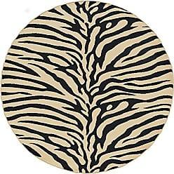Tayse Zara Transitional Animal Beige Round Area Rug, 5 Round
