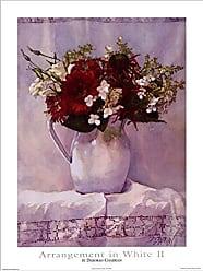 Buyartforless Buyartforless Arrangement in White II by Deborah L. Chabrian 18x24 Art Print Poster Vintage Still Life Red White Flowers White Vase and Cloth