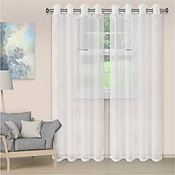 Home City Inc. Superior Quality Lightweight Embroidered Damask Sheer Stainless Grommets Window Treatment Curtain Panel (Set of 2) 52 x 63 - White
