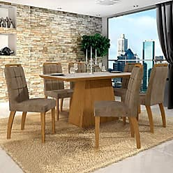 Leifer Conjunto Sala de Jantar Mesa Tampo de Vidro Off White 6 Cadeiras Málaga Leifer Canela/Off White/Capuccino