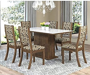 Viero Sala de Jantar Mesa Retangular Tampo de MDF Smart 6 Cadeiras Kiara Viero Grigio/Medina/Vidro Branco