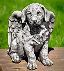 Campania International USA-Made Cast Stone Angel Puppy Garden Statue