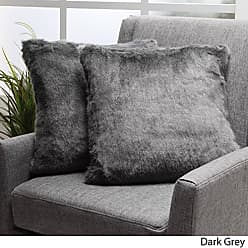 GDF Studio Christopher Knight Home Ellison Dark Grey Decorative Faux Fur Fabric Throw Pillow (Set of 2) | Ideal for The Living Room or Bedroom | Plush Texture
