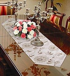 Violet Linen Legacy Damask Table Runner, 13 x 90, Beige