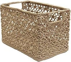 Heritage Lace Mode Crochet Wire Frame Basket, 12 by 7 by 8-Inch, Tan