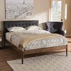 Baxton Studio Jupiter Solid Wood Platform Bed, Size: Queen - SW8085-WALNUT-M17-QUEEN