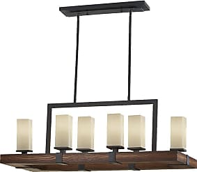 Feiss F2592/6AF/AGW Madera Chandelier in Antique Forged Iron / Aged Walnut finish with Cream Etch Glass
