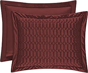 Five Queens Court Saranda Satin Geometric Quilted Pillow Shams - KGQSH, King, Cabernet