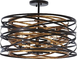 Minka Lavery Vortic Flow Ceiling Light in Dark Bronze with Mosaic Gold