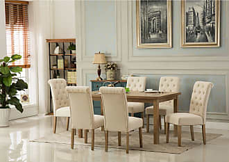 Round Hill Furniture Monotanian 7 Piece Button Tufted Dining Table Set Gray - T171-C161GY-C161GY-C161GY