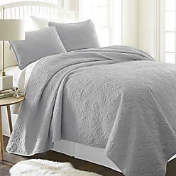 iEnjoy Home ienjy Home Damask Patterned Quilted Coverlet Set, King, Gray