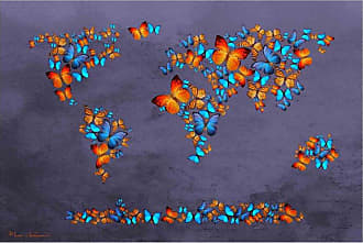Louis Leonard Art Butterfly World Map I by Mark Ashkenazi Canvas Wall Art - MAA112-1827