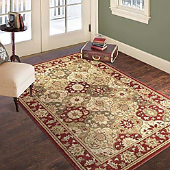 Trademark Global Bedford Home Vintage Round Patchwork Rug, 8 x 10, Red