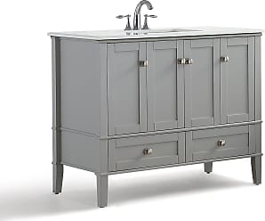 Simpli Home Chelsea 42 inch Bath Vanity in Warm Grey with White Engineered Quartz Marble Top