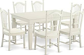 East West Furniture WEDO7-WHI-W 7 Piece Table and 6 Chairs Set