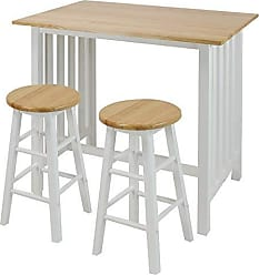 Yu Shan Casual Home 3-Piece Breakfast Set with Solid American Hardwood Top, White