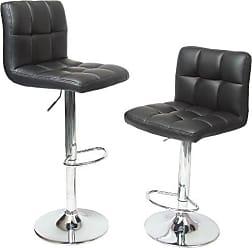 Round Hill Furniture Swivel Black Bonded Leather Adjustable Hydraulic Bar Stool, Set of 2