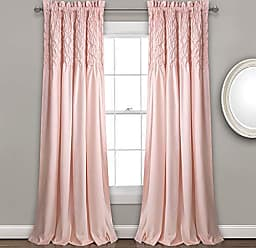 Triangle Home Fashions Lush Decor Bayview Curtains - Pintuck Textured Semi Sheer Window Panel Drapes Set for Living, Dining, Bedroom (Pair), 84 x 52, Blush