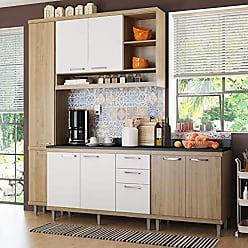 Multimóveis Cozinha Completa com Balcão com Tampo 5 Peças 8 Portas Sicília Multimóveis Argila/Branco