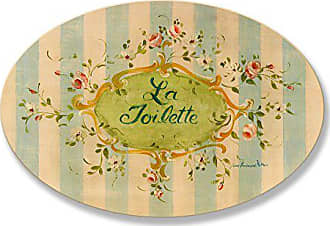 The Stupell Home Décor Collection The Stupell Home Decor Collection La Toilette Floral with Blue Stripe Oval Bathroom Wall Plaque
