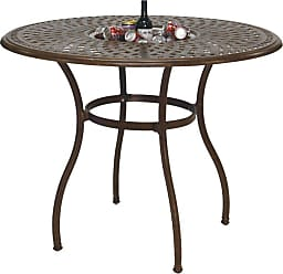 DARLEE Outdoor Darlee Series 60 Cast Aluminum 52 in. Round Counter Height Pub Patio Table with Ice Bucket Insert - 201060-CHQ-AB