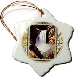 3D Rose 3dRose orn_34139_1 Yellowstone Falls-Snowflake Ornament, 3-Inch, Porcelain