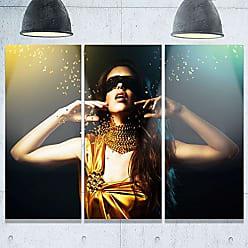 DESIGN ART Designart MT9299-3P Woman in Yellow with Mask Portrait Metal Wall Art (3 Panels), 28 H x 36 W x 1 D 3P