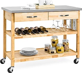 Best Choice Products Kitchen Island Utility Cart w/ Stainless Steel Countertop - Natural