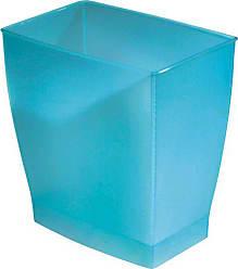 InterDesign Spa Rectangular Trash Can, Waste Basket Garbage Can for Bathroom, Bedroom, Home Office, Dorm, College, 2.5 Gallon, Blue