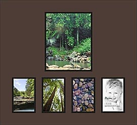 Art to Frames Collage Photo Frame Double Mat with 1 - 8x10 and 4 - 4x6 Openings and Satin Black Frame