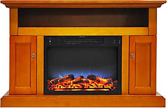 Cambridge Silversmiths CAM5021-2TEKLED Sorrento Electric Fireplace with Multi-Color LED Insert and 47 In. Entertainment Stand in Teak