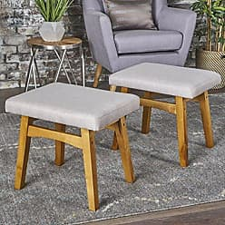 GDF Studio 302153 Analise Foot Stool Ottoman | Mid Century Modern, Danish Design | Upholstered in Wheat Fabric (Set of 2)