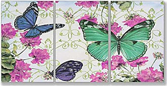 The Stupell Home Décor Collection Stupell Home Décor Butterfly Inspirations 3-Piece Triptych Wall Plaque Set, 11 x 0.5 x 17, Proudly Made in USA