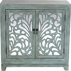 Heather Ann Creations 2 Door Accent Cabinet/Console with Mirror Backed Carved Grille and Center Shelf, 32 x 32, Blue