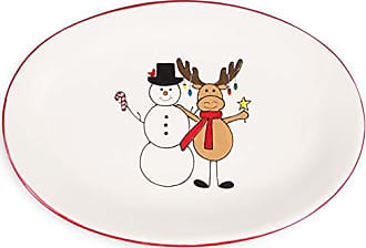 Pavilion Gift Company 81563 Pavilion - Large Hugging Snowman & Moose 12 Inch Dolomite Ceramic Christmas Red & Whi Serving Platter 11.75 L x 8 W x 1.5 H x 11.75 D Multicolored