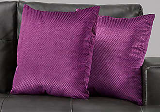 Monarch Specialties I I 9303 Diamond Velvet Decorative Pillow Throw, 18 x 18, Purple