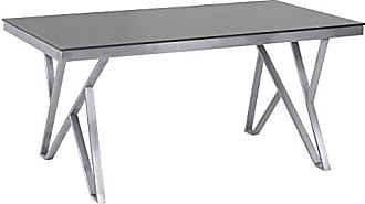 Armen Living LCMRDITOGG Mirage Dining Table with Glass Top and Brushed Stainless Steel Finish