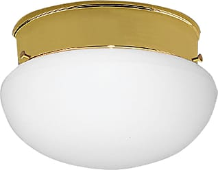 PROGRESS P3408-10 One-light close-to-ceiling in Polished Brass finish with white glass