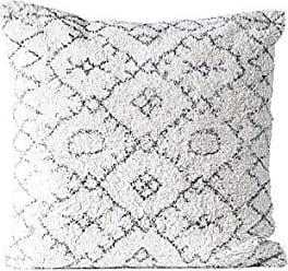 Creative Co-op Creative Co-op Black & White Square Cotton Tufted Pillow, Black