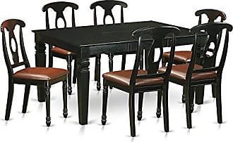 East West Furniture WEKE7-BLK-LC 7 Piece Kitchen Dinette Table and 6 Chairs