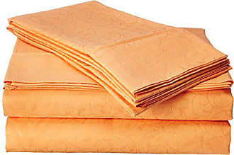 Elegant Comfort Luxurious Silky Soft Coziest 4-Piece Bed Sheet Set Beautiful Floral Design Wrinkle,Fade and Stain Resistant 100% HypoAllergenic, King, Orange