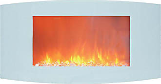 Cambridge Silversmiths CAM35WMEF-1WHT Callisto 35 In. Wall-Mount Electric Fireplace with White Curved Panel and Crystal Rocks