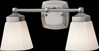 Feiss VS19902-BS Delaney Vanity Fixtures in Brushed Steel finish with White Opal Etched Glass