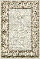 Unique Loom Outdoor Botanical Collection Carved Border Transitional Indoor and Outdoor Flatweave Cream Area Rug (4 x 6)