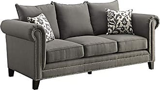 Coaster Home Furnishings Emerson Rolled Arm Sofa with Pewter Nailheads Charcoal