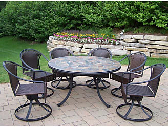 Oakland Living Outdoor Oakland Living Stone Art All Weather Wicker Swivel Patio Dining Set - Seats 6 - 90094-90079-S-4005-BG-4101-9-BK