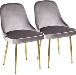 LumiSource Marcel Contemporary Dining Chair (Set of 2) - N/A (Silver/Chrome)