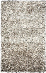 Rizzy Home Midwood Collection Polyester Cream/Light Brown Solid/Shag Area Rug 36 x 56