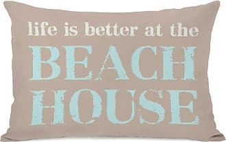 One Bella Casa Life is Better at the Beach House Throw Pillow by OBC, 14x 20, Tan/Aqua
