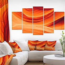 DESIGN ART Designart Antelope Canyon Wall-Landscape Photo Canvas Print-60x32 5 Piece, 60x32-5 Panels Diamond Shape, Orange